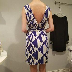 Backless stunning blue and white chiffon dress